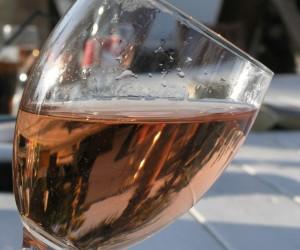 Glass of house pink Nikki Beach St Tropez